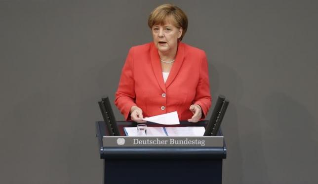 German Chancellor Angela Merkel speaks during a session of Germany's parliament, the Bundestag, in Berlin, Germany, July 17, 2015. REUTERS/Axel Schmidt