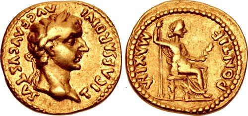 Tiberius AD 14-37 AV Aureus (19mm 6,69 g 6h) Contemporary Indian imitation of a Lugdunum (Lyon) mint issue