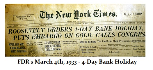 Image result for newspaper roosevelt declared bank holiday 1933